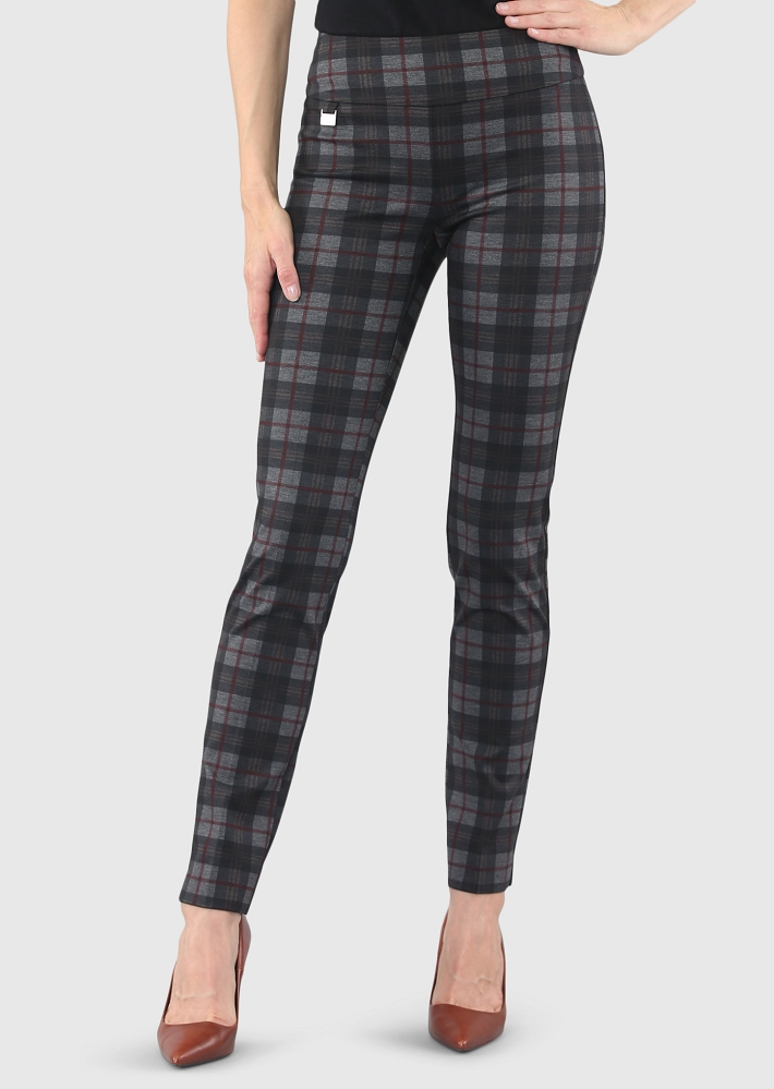 Lisette L. Skinny Leg Pant Style 44505 Scottish Print Plaid PDR Color Charcoal